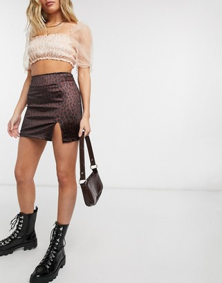 Motel mini skirt with thigh split in leopard co-ord