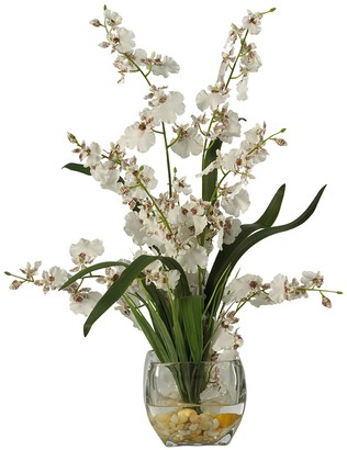 Nearly Natural White Dancing Lady Orchid Liquid Illusion Silk Flower Arrangement