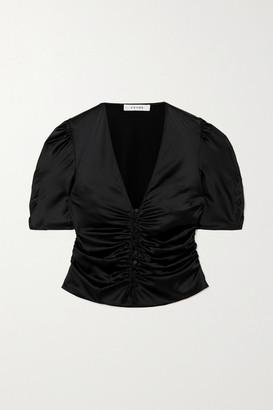 Frame Camile Ruched Stretch-silk Satin Top - Black