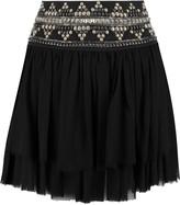 Pierre Balmain Embellished georgette mini skirt