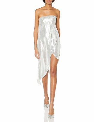 Baja East Women's Silver Metallic Strapless Dress 2