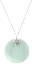 Amazonite & Sterling Silver Round Pendant Necklace