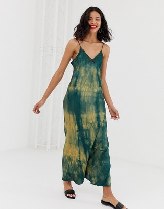 And other stories & tie dye midi slip dress in green and yellow