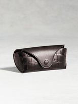 John Varvatos Calfskin Eyeglass Case With Crocodile Detail
