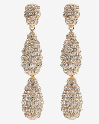 Express Tiered Rhinestone Oval Drop Earrings