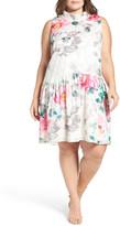 Eliza J Floral Print Shift Dress (Plus Size)