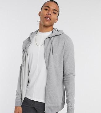 ASOS DESIGN Tall organic lightweight zip up hoodie in gray marl