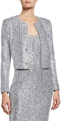 St. John Sequin Open-Front Long-Sleeve Cropped Statement Jacket