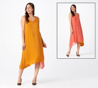 Logo by Lori Goldstein Satin & Chiffon Reversible Dress