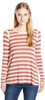 Jolt Women's Stripe Long Sleeve Top with Lace Back Detail
