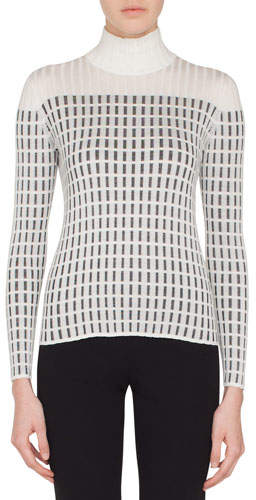Akris Mock-Neck Long-Sleeve Hotel Facade Embroidery Knit Pullover Sweater
