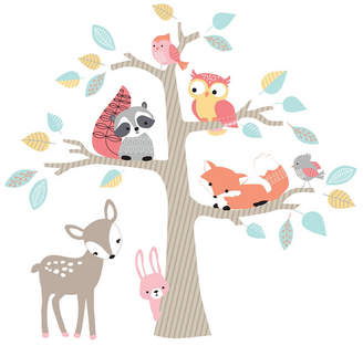 Lambs & Ivy Little Woodland Animals and Tree Jumbo Nursery Wall Decals/Appliques Bedding