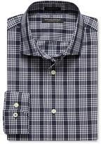 Banana Republic Camden-fit Navy Plaid 120s Supima Cotton Shirt