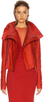 Rick Owens Leather Biker Jacket in Cardinal Red | FWRD