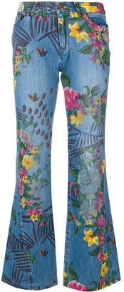 Kenzo Pre Owned Floral Flared Jeans