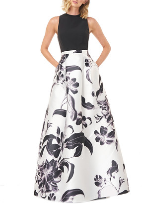 Kay Unger Brianna Printed Mikado Gown