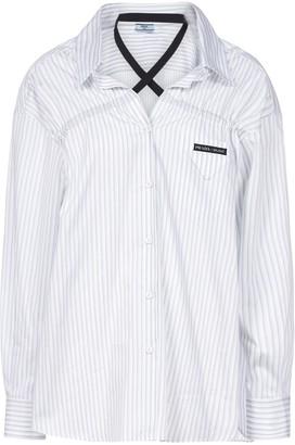 Prada Crossover Detail Striped Shirt