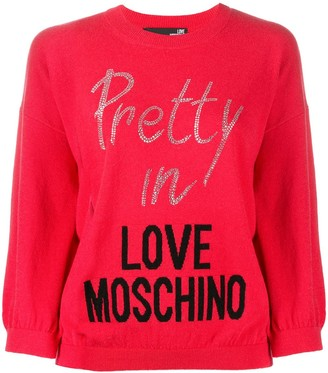 Love Moschino Crystal-Embellished Logo Jumper