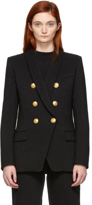 Balmain Black Virgin Wool Double-Breasted Blazer
