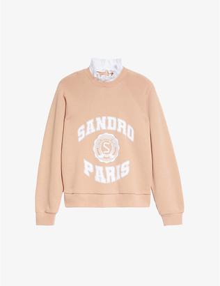 Sandro Blason embellished cotton-jersey sweatshirt