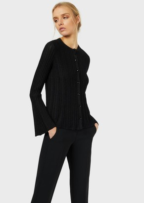 Emporio Armani Cardigan In Lurex Fabric With Ottoman Effect