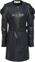 Victoria Victoria Beckham Victoria, Victoria Beckham Belted Gathered Leather Mini Dress
