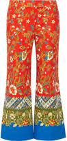 Tory Burch Dayton Cropped Printed Cotton-blend Straight-leg Pants - Tomato red