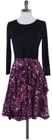 Dkny DKNY- Black & Purple Print Long Sleeve Dress Sz S