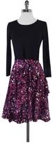 Dkny DKNY- Black & Purple Print Long Sleeve Dress Sz S