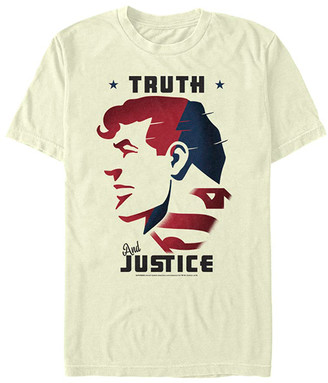 Fifth Sun Tee Shirts NATURAL - Superman Off-White 'Truth & Justice' Crewneck Tee - Adult