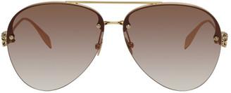Alexander McQueen Gold Skull Aviator Sunglasses