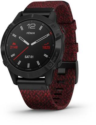 Garmin fenix 6 Sapphire Black DLC Smartwatch with Heathered Red Nylon Band