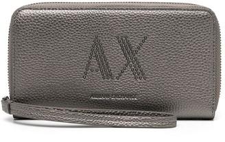 Armani Exchange Grained Studded-Logo Wallet