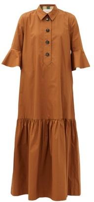 La DoubleJ Artemis Fluted-sleeve Cottton Maxi Shirt Dress - Brown