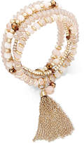 INC International Concepts Gold-Tone Multi-Row Beaded Chain Tassel Stretch Bracelet, Created for Macy's