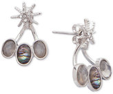 lonna & lilly Silver-Tone Pavé & Abalone Stone Front-and-Back Earrings