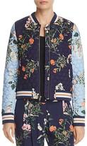 Parker Herve Quilted Floral Silk Bomber Jacket