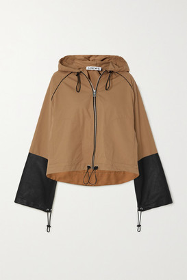 Loewe Hooded Leather-paneled Cotton-canvas Jacket - Brown