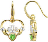 JCPenney FINE JEWELRY Heart-Shaped Genuine Peridot and Diamond-Accent Claddagh Earrings