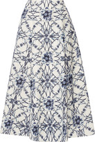 Marchesa Printed cotton and silk-blend midi skirt