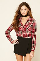 Forever 21 FOREVER 21+ Snap-Button Plaid Shirt