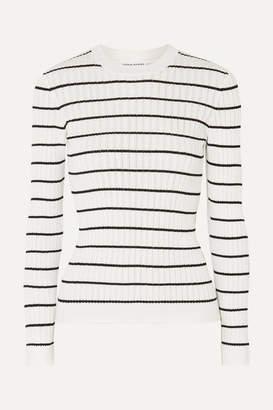 Sonia Rykiel Striped Ribbed-knit Cotton-blend Top - White