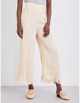 Maje Panorama wide high-rise jacquard trousers