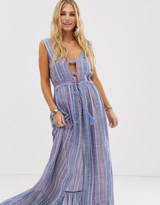 En Creme maxi dress with cut out plunge neck line in WATERCOLOR stripe
