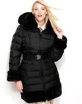 Shelli Segal Laundry by Plus Size Coat, Faux-Fur Hooded Parka Puffer