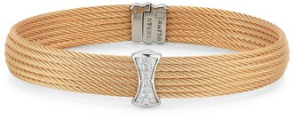 Alor 18K Rose Gold Stainless Steel Diamond Cable Cuff