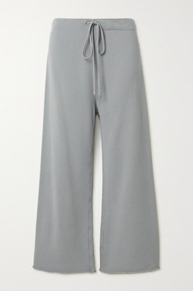 Nili Lotan Kiki Cropped Distressed Cotton-jersey Track Pants - Gray