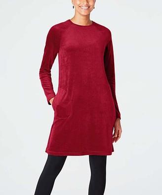 J. Jill J.Jill Women's Casual Dresses CRIMSON - Crimson Pure Jill Velour Crewneck Shift Dress - Women & Petite
