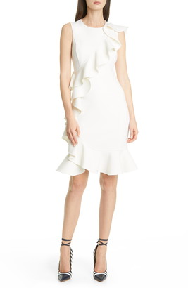 Michael Kors Ruffle Trim Wool Blend Sheath Dress