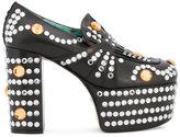 Gucci crystal studded platform loafer pumps - women - Leather/Plastic - 35